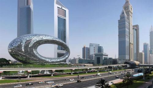 "Museum Masa Depan sedang dibangun di Dubai. Ditunjukkan di sini dalam renderings, akan dibuka pada tahun 2020, dan akan ""mengeksplorasi tantangan dan teknologi terbesar yang akan membentuk masa depan.""  Courtesy Dubai Future Foundation"