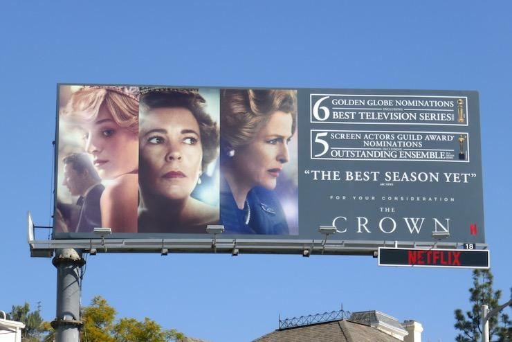 Crown season 4 Golden Globe nominee billboard