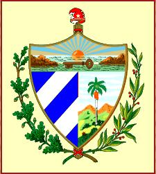 Dibujo del escudo de Cuba con fondo amarillo
