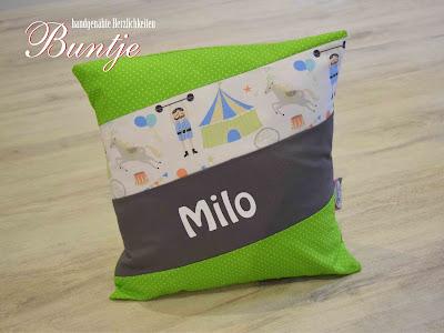 Namenskissen Kissen Name Milo Junge grün grau Sterne Zirkus Löwe Geschenk Geburt Taufe Kindergarten