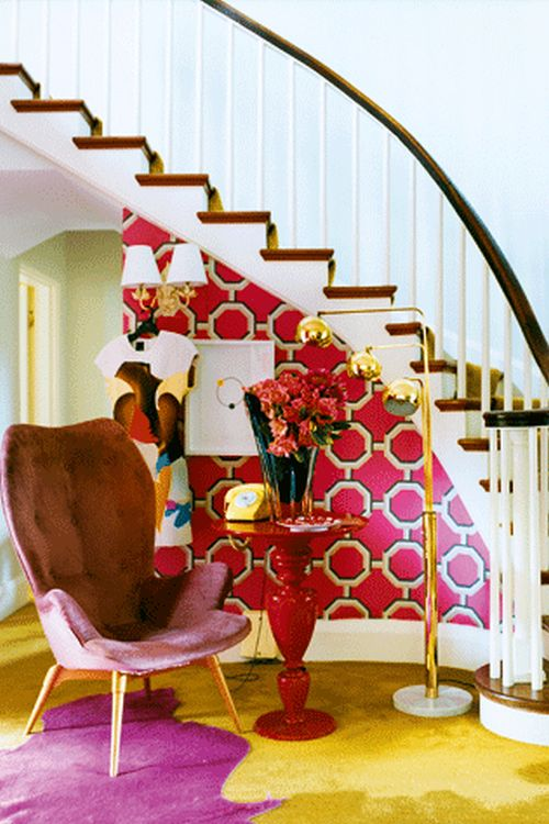 modern and bright colored entryway