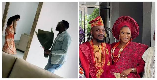 Lovely moment as BBNaija star,Tobi Bakre, Invites singer Timi Dakolo to surprise his woman, Anu, in their home (video)