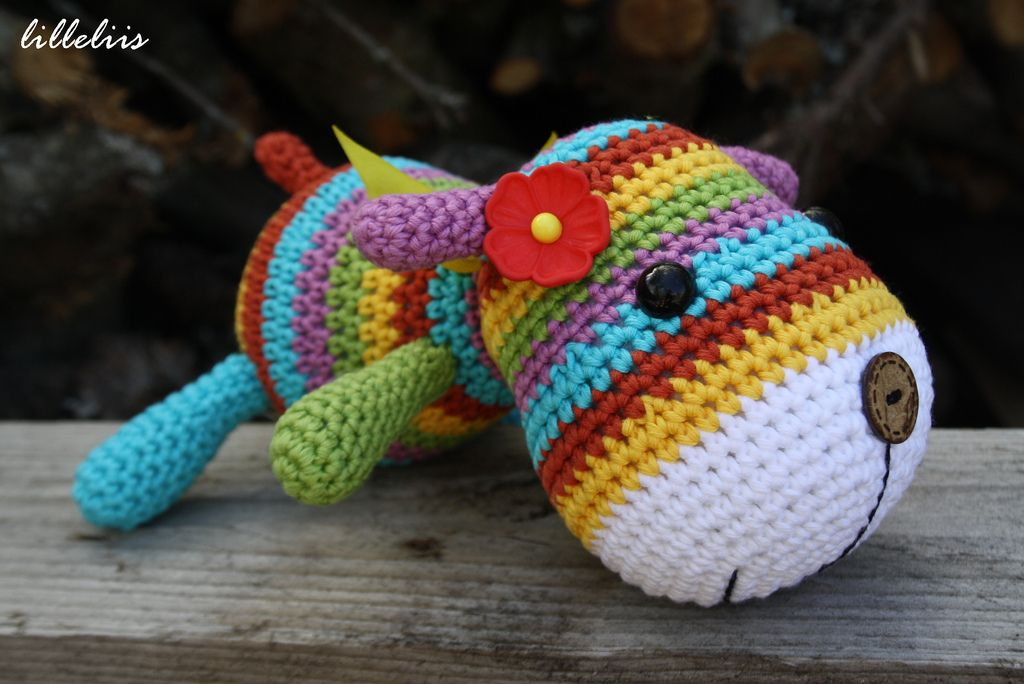 26.  Stripy sock puppy in rainbow colors
