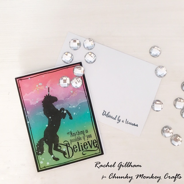 Visible image unicorn card with Chunky Monkey Crafts envelope stamp- Rachel Gillham Art