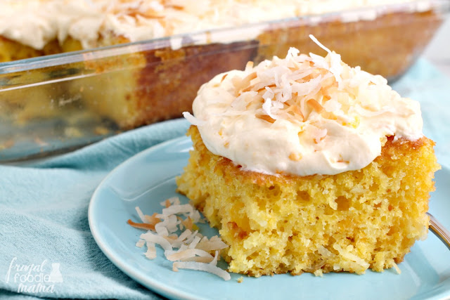 This super easy to make and delicious Citrus Coconut Sunshine Cake is bursting with bright lemon, sweet mandarin oranges, and toasted coconut- just like summer on a fork!