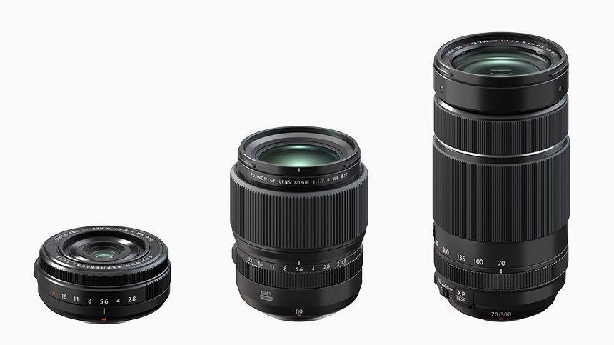 Три объектива от Fujifilm: GF 80mm, XF 27mm, XF 70-300mm