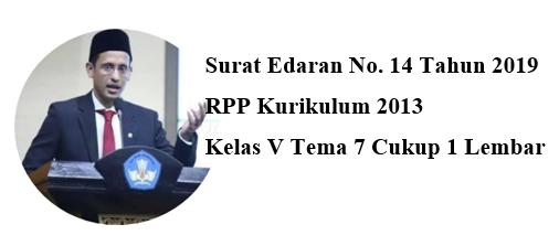 RPP Terbaru 1 Lembar K2013 Kelas 5 Tema 7