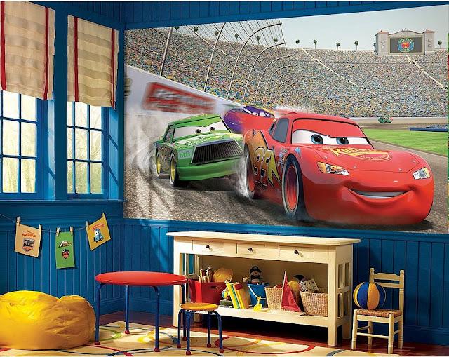 Valokuvatapetti Lapsia Disney Cars lasten tapetti lastenhuoneeseen