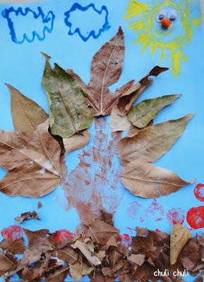 este es el mural de otoño que hizo mi pequeño Fran. Se lo pasó pipa jugando a pintar y pegando hojas.