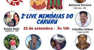 NESTE SÁBADO, OCUPAÇÃO CULTURAL REALIZA LIVE MEMÓRIAS DO CARURU