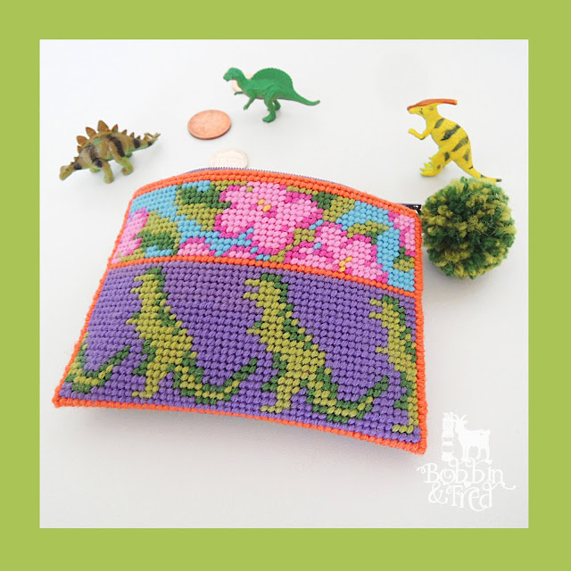 Dinosaur tapestry needlepoint coin purse by Bobbin and Fred