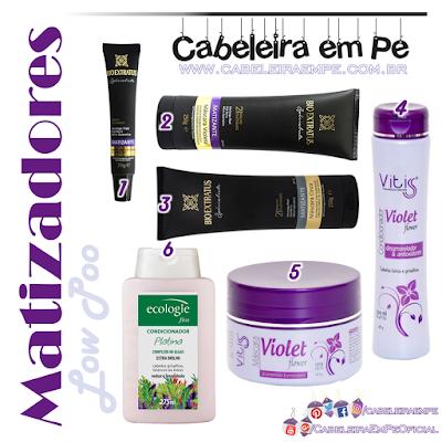 Composição completa Matizadores e Desamareladores Liberados para Low Poo (Specialiste Bio Extratus, Violet Flower Vitiss e Platina Ecologie Fios)