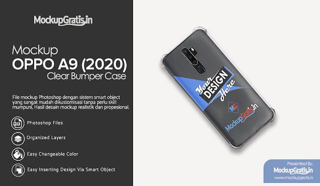 PSD Mockup Softcase Anti Crack OPPO A9 (2020) Gratis