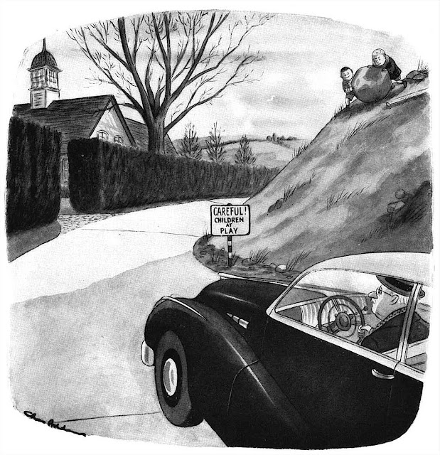 A Charles Addams cartoon about signage