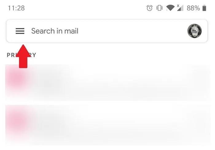 كيفية تعطيل محادثة Gmail عرض قائمة همبرغر للجوال