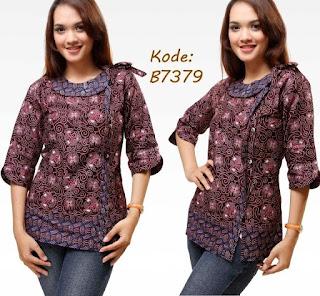 Foto Model Baju Batik Kantor Wanita Kombinasi