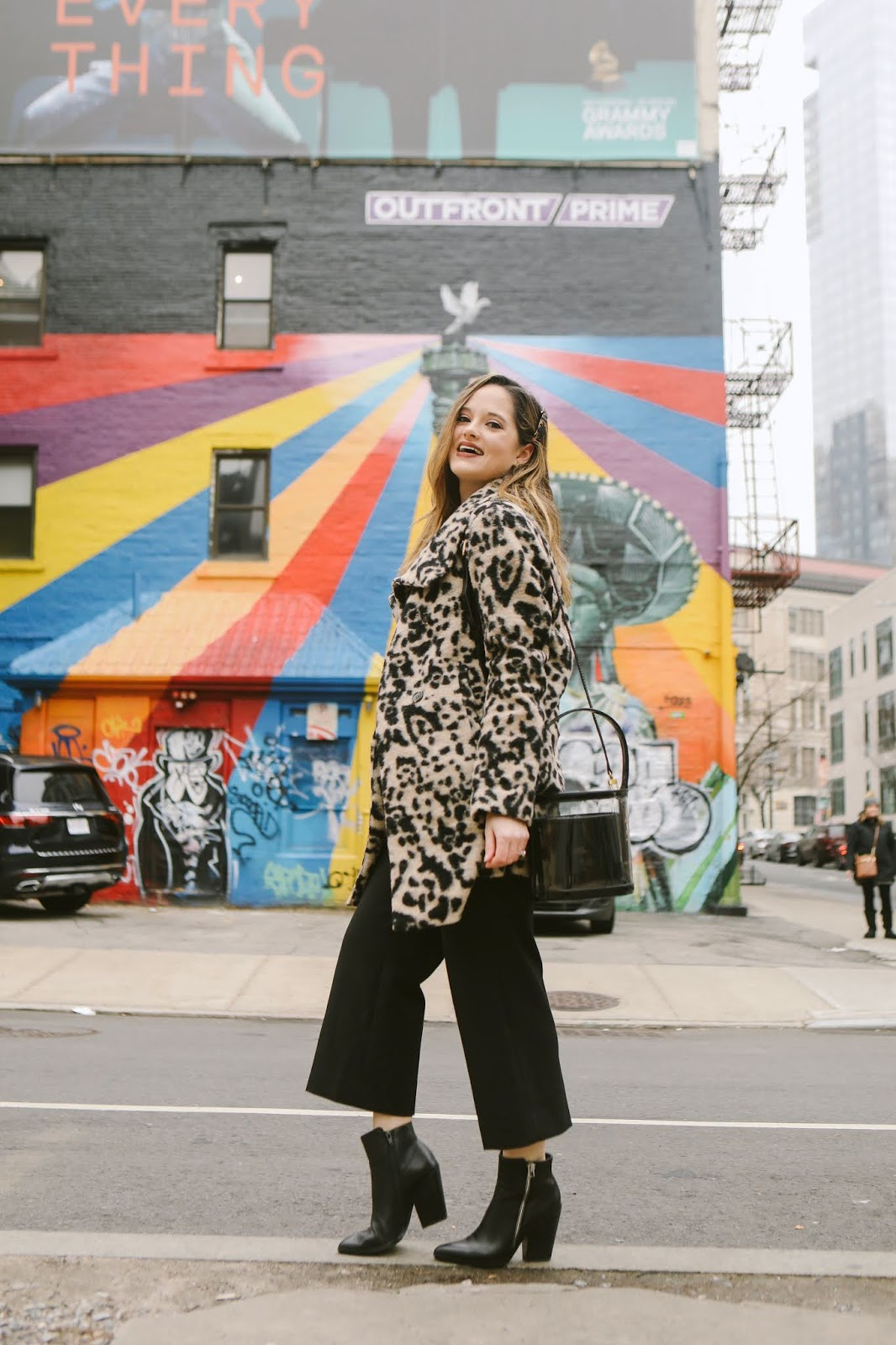 Nyc fashion blogger Kathleen Harper's street style with a leopard coat.
