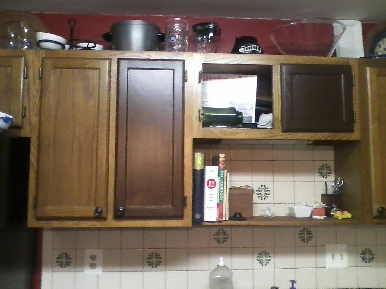 instructions staining kitchen cabinets Little Brick Home