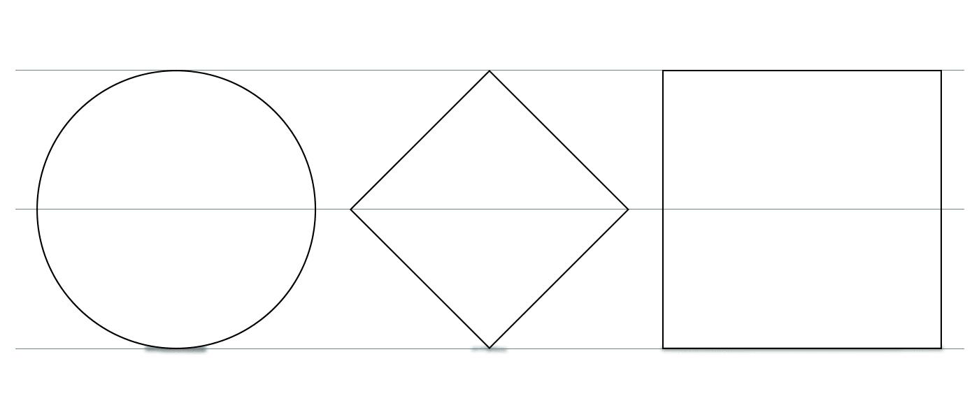 Ympyrä, 45 astetta käännetty neliö ja neliö.