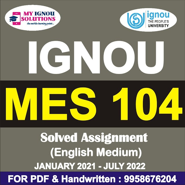 MES 104 Solved Assignment 2021-22