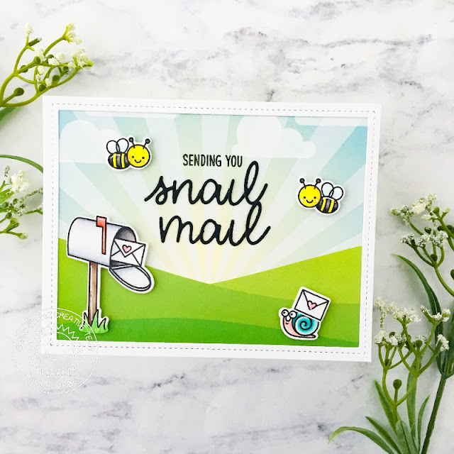 Sunny Studio Stamps: Snail Mail Stitched Oval Dies Frilly Frame Dies Friendship Card by Mayra Duran-Hernandez