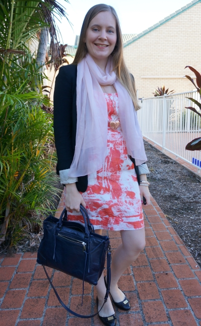 jersey blazer, scarf, orange print sheath dress, navy rebecca Minkoff regan satchel | awayfromblue