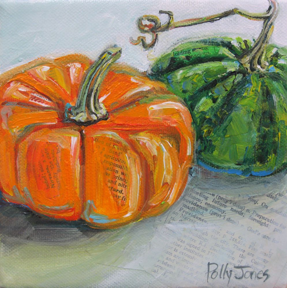 A Pumpkin And Squash Original Mixed Media Painting By Polly Jones