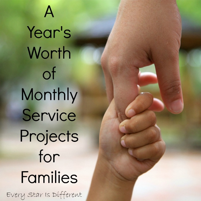 A Year's Worth of Monthly Service Projects for Families