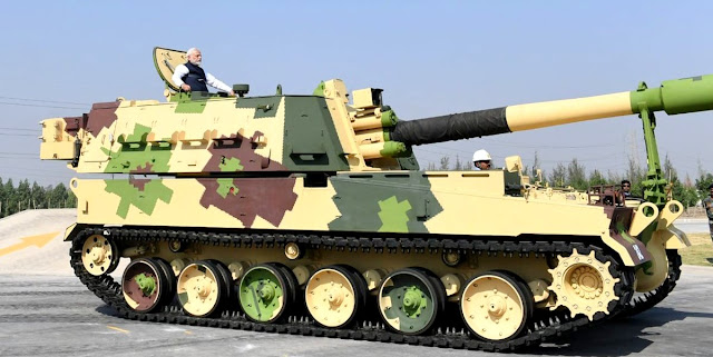 Image Attribute: Prime Minister Narendra Modi taking a ride on a K9 VAJRA-T at L&T Defence's Armoured Systems Complex in Hazira, Gujarat / Source: Press Trust of India (PTI)