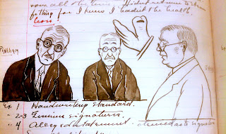 A series of sketched portraits and some handwritten text.