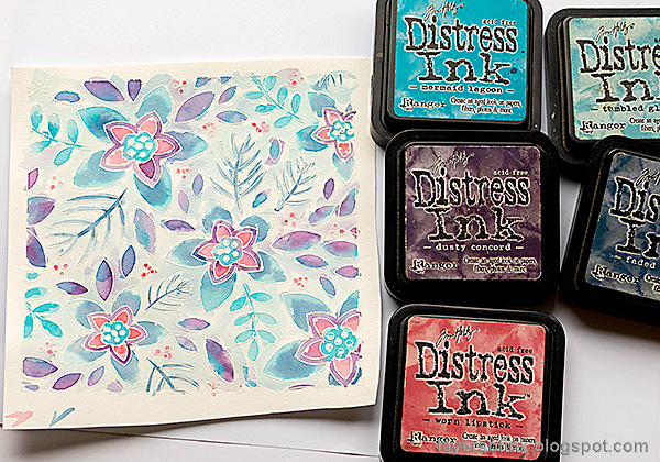 Layers of ink - Winter Floral Watercolor Tutorial by Anna-Karin Evaldsson. Watercolor with Distress Ink.
