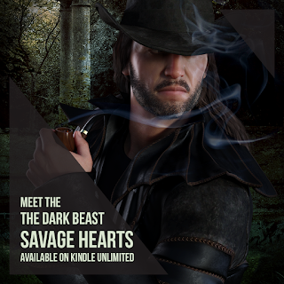 Dark Fantasy Romance Book, Rugged male wearing a black hat is smoking from a pipe