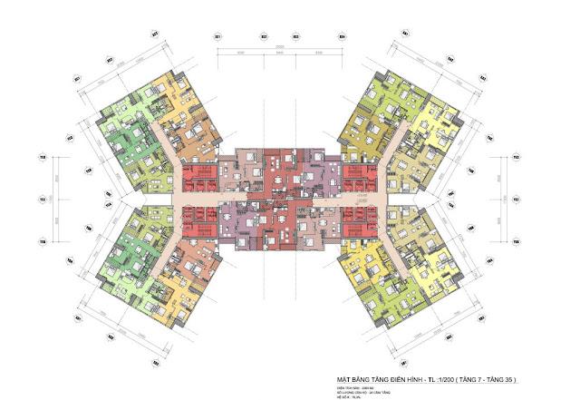 Mặt bằng thiết kế tầng căn hộ điển hình tầng 7-35