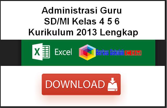 Download Administrasi Guru SD/MI Kelas 4 5 6 Kurikulum 2013 Lengkap