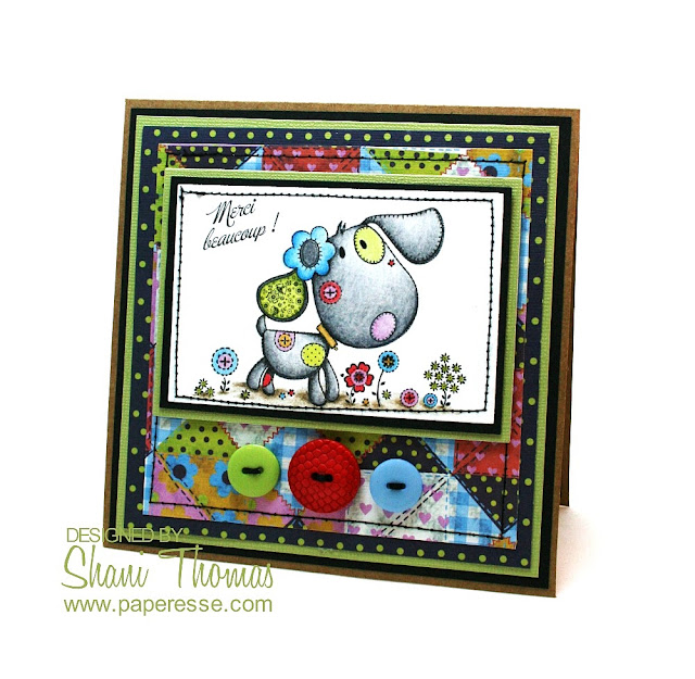 Thank you card with All Dressed Up Little Patch Puppy digital stamp, design by Paperesse.