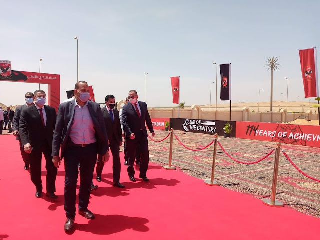 الخطيب يستقبل وزير الرياضة قبل وضع حجر أساس استاد الأهلي