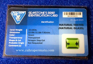 Batu Permata Green Tektite + Memo - ZP 342