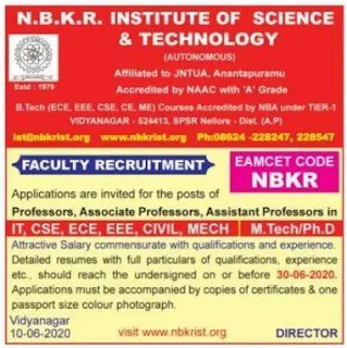 Nellore NBKR Assistant Professor Jobs 2020 Recruitment N.B.K.R Institute of Science and Technology