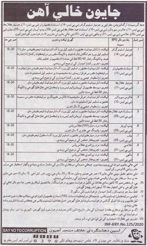 Government Organization Jobs 2020 in Karachi
