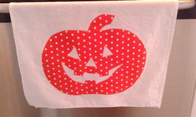 How-to Halloween pumpkin DIY jackolantern dish towel decoration sewing
