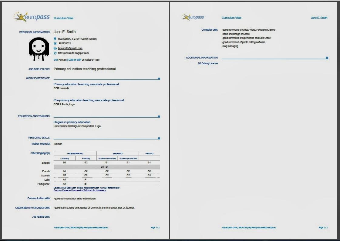 Create Europass Cv Online English Resume Sample For Dubai Job