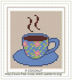 TEACUP, FREE AND EASY PRINTABLE CROSS STITCH PATTERN