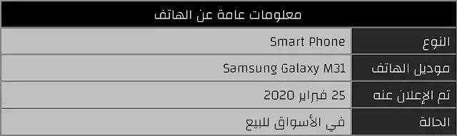 معلومات عامة عن هاتف Samsung Galaxy M31