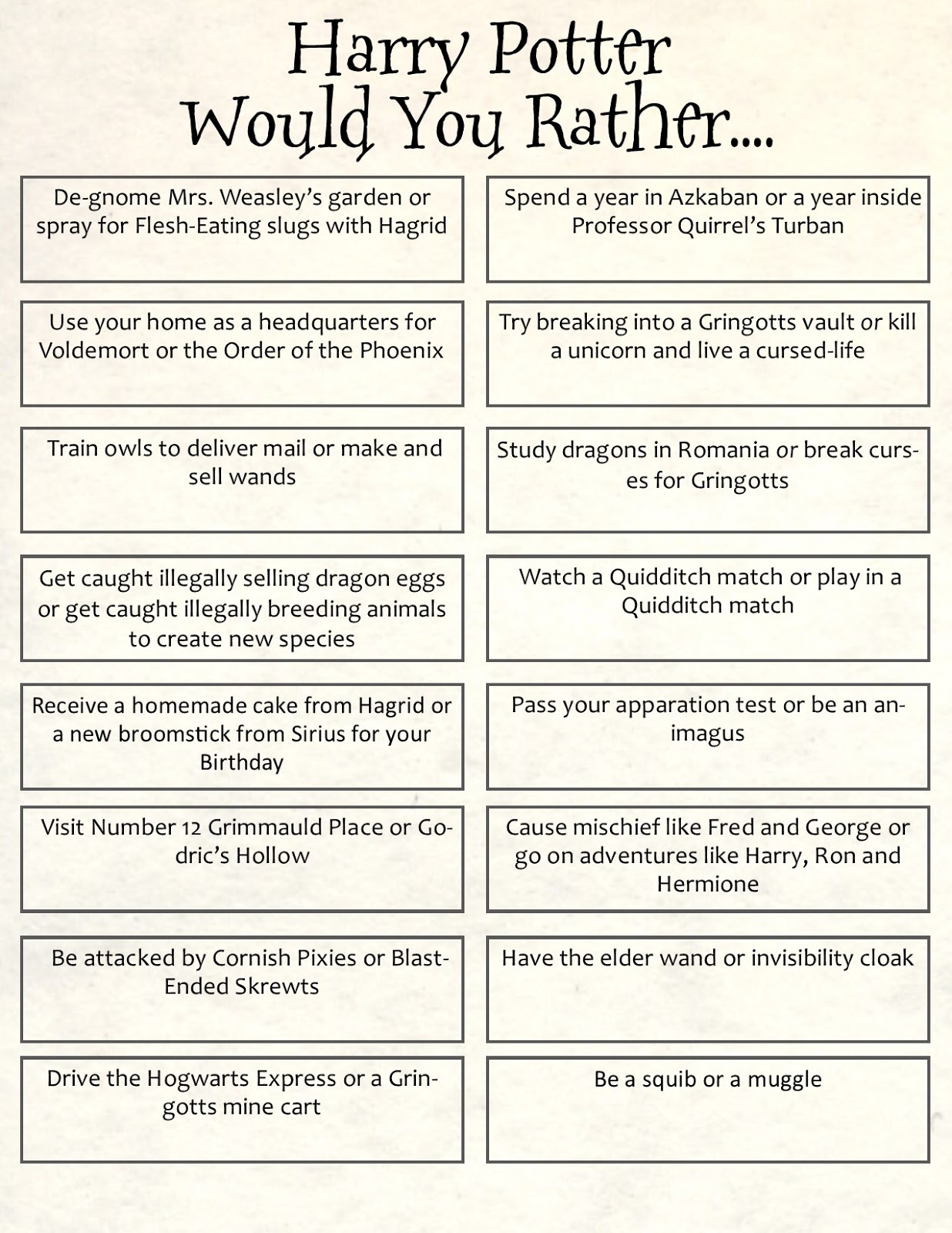 It is a photo of Remarkable Harry Potter Quiz Printable
