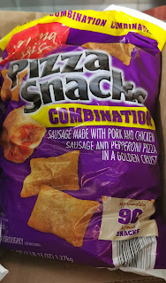 A bag of Mama Cozzi's Combination Pizza Snacks, from Aldi