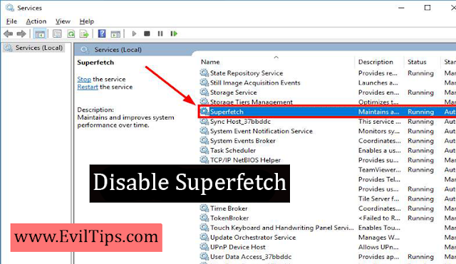 Disable Superfetch Windows 10, 8 & 7