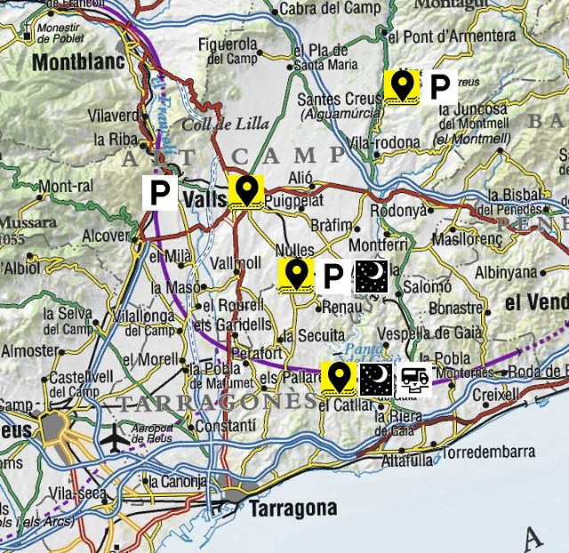 Mapa dels llocs visitats de l'Alt Camp