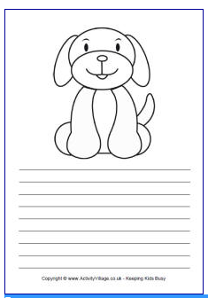 Free To From Activity Village In Either Plain Ruled Or Handwriting Versions Solid And Dotted Lines For Letter Formation This Paper Has A Cute Dog