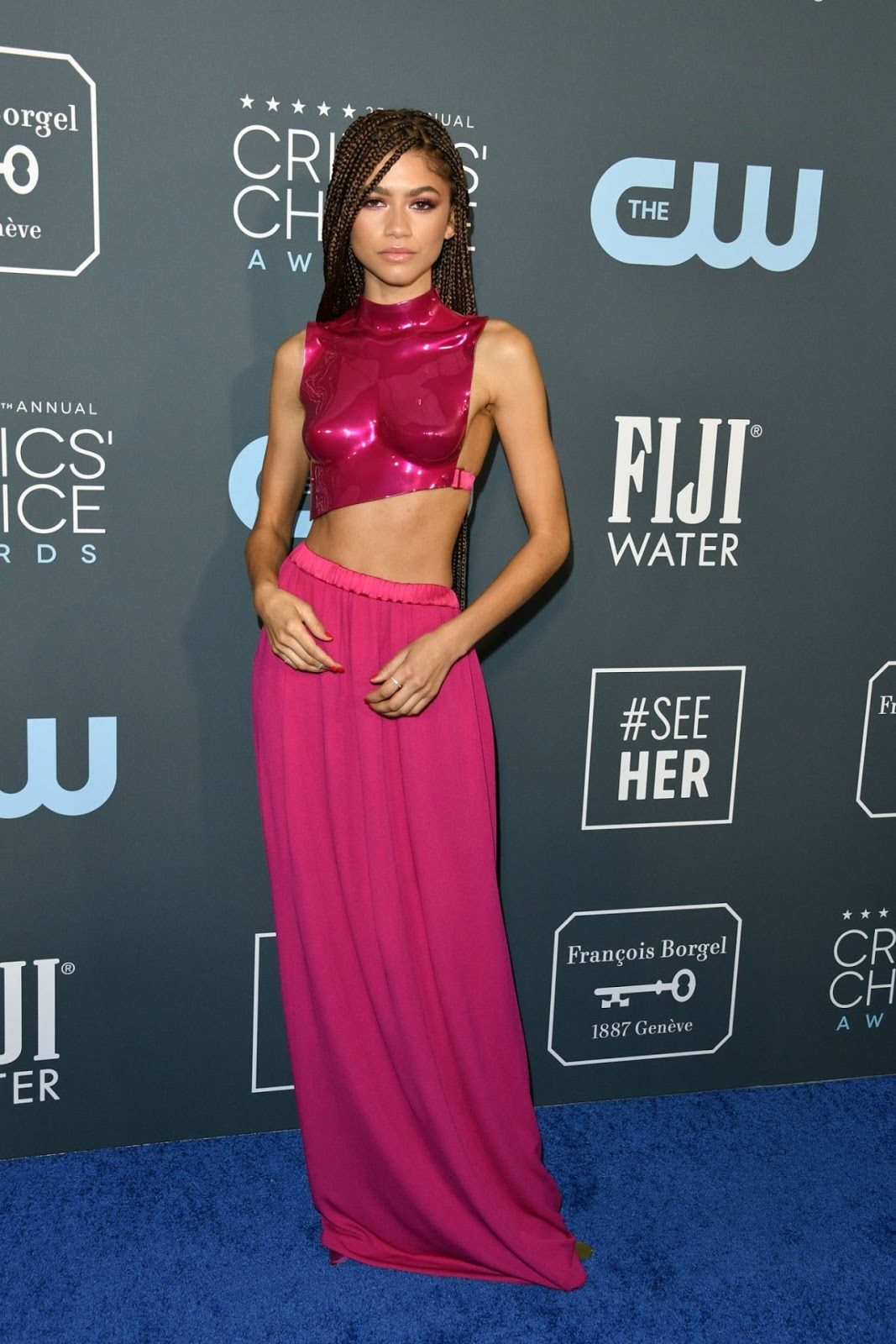 Zendaya flaunts Tom Ford breastplate at the 2020 Critics' Choice Awards in LA