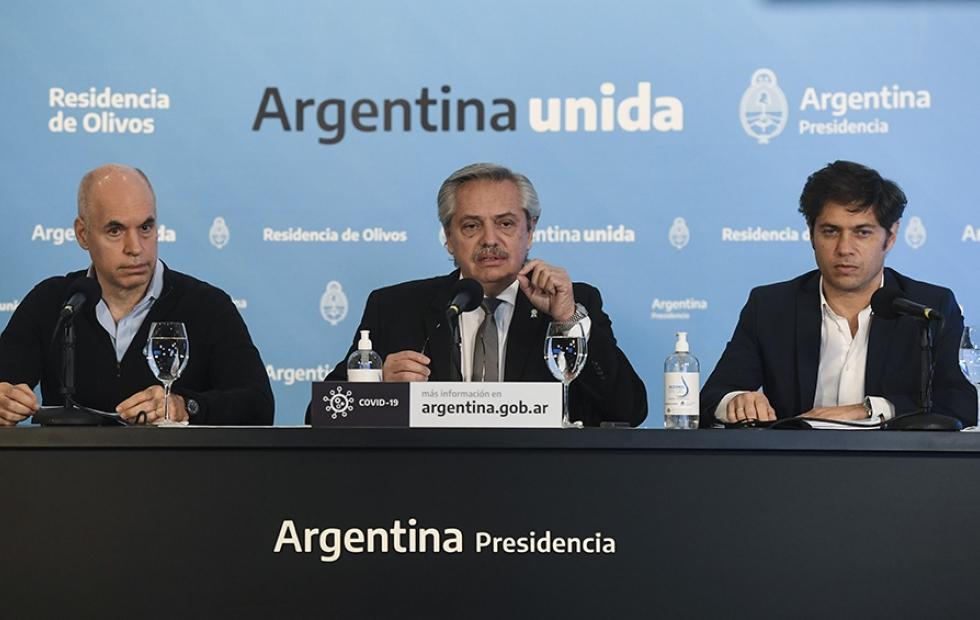 Horacio Rodriguez Larreta, Alberto Fernandez, Axel Kicillof conferencia de prensa coronavirus